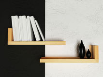 Creative bookshelf  on the wall Royalty Free Stock Images