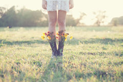 Creative bouquet in boots Royalty Free Stock Photography