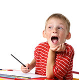 Creative boy with pencils royalty free stock photo
