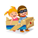 Creative boy playing as a pilot with cardboard airplane. Vector illustration of creative boy playing as a pilot with cardboard airplane stock illustration