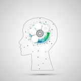 Creative brain concept background with triangular grid. Artificial Intelligence concept. stock illustration