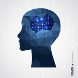 Creative brain concept background with triangular grid. Royalty Free Stock Image