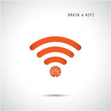 Creative brain concept and wifi sign.. Education, technology and business background. Vector illustration Stock Image