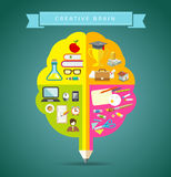 Creative Brain concepts design with business icons Stock Photos