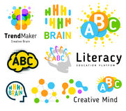 Creative brain. Genius school. Human development. Skill up. Linear vector logo set. Royalty Free Stock Image