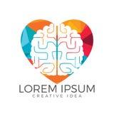 Creative brain heart shape logo design. Think idea concept. royalty free illustration