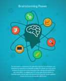 Creative brain idea and brainstorming poster royalty free illustration