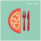 Creative brain Idea concept with fork and knife sign on backgrou Royalty Free Stock Image