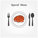 Creative brain Idea concept with spoon,fork and knife sign on ba Stock Photo