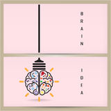 Creative brain Idea and light bulb banner concept, design for po Stock Photo