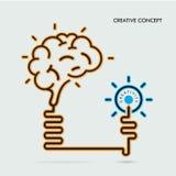 Creative brain Idea and light bulb concept, design for poster fl Stock Photo
