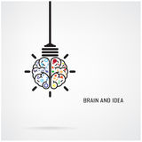 Creative brain Idea and light bulb concept Stock Photo