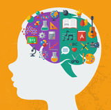 Creative brain Idea. Vector concept. Textured background. Sciences and arts. Back to school icons. Left and right brain functions stock illustration