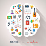Creative Brain Idea. Vector concept. Textured background. Sciences and arts. Back to school icons. Left and right brain functions Stock Photo