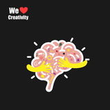 Creative brain logo design vector template with small hand.Educa Royalty Free Stock Images