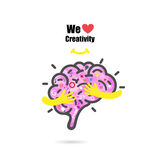 Creative brain logo design vector template with small hand. Royalty Free Stock Image