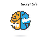 Creative brain logo design vector template with small hand. Stock Images
