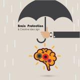 Creative brain protection abstract vector logo design template. Royalty Free Stock Photos