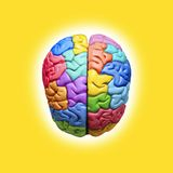Creative Brain Psychology. A multicolored brain on a yellow background