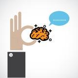Creative brain sign idea,flat design.Concept of inspiration Stock Images