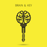Creative brain sign with key symbol. Key of success. Business an Royalty Free Stock Photos