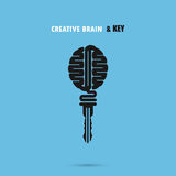 Creative brain sign with key symbol. Key of success. Royalty Free Stock Images