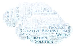 Creative Brainstorm word cloud, made with text only. vector illustration
