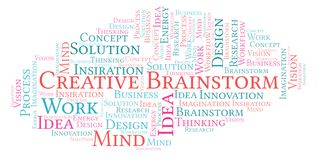 Creative Brainstorm word cloud, made with text only. Creative Brainstorm word cloud, made with text only stock illustration