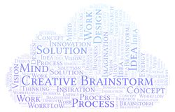 Creative Brainstorm word cloud, made with text only. royalty free illustration