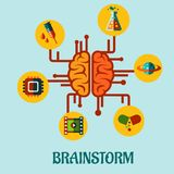 Creative brainstorming flat concept design Royalty Free Stock Photography