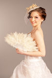 Creative Bride with a Fan Stock Image