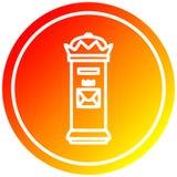 A creative British postbox circular in hot gradient spectrum. An original creative British postbox circular in hot gradient spectrum stock illustration