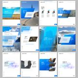 Creative brochure templates with colorful gradient geometric background. Blue colored design. Covers design templates royalty free illustration
