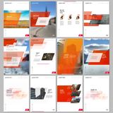 Creative brochure templates with colorful gradient geometric background. Red colored design. Covers design templates for stock illustration