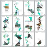 Creative brochure templates with colorful triangle origami paper elements on black background. Covers design templates. For flyer, leaflet, brochure, report royalty free illustration