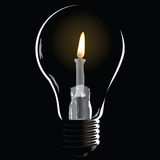 Creative with a bulb. Creative with a lamp, burning fire inside the bulb. Vector illustration Stock Photography