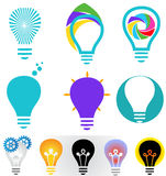 Creative bulb icon set Royalty Free Stock Images