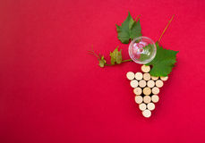 Creative bunch of grapes with wine glass and copy-space Royalty Free Stock Photo