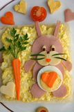 Creative bunny. Creative snack for kids - bunny Royalty Free Stock Images