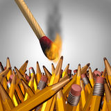 Creative Burnout. Business concept as an ignited match stick burning yellow pencils and as a symbol for education and learning risks and dangers royalty free illustration