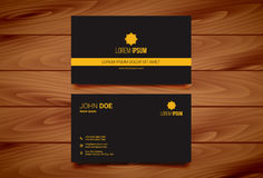 Creative Business Card Design Template with Wooden Background Stock Photography