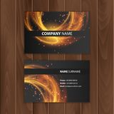 Dark modern business card design template with abstract colorful background Stock Photos