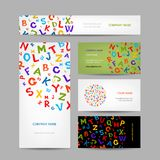 Creative business cards design with letters Stock Photos