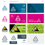 Creative business cards vector set with A logo Stock Photography