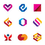 Creative business company tape line help care logo icon set Royalty Free Stock Image