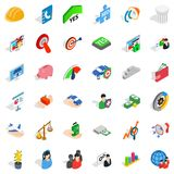 Creative business icons set, isometric style. Creative business icons set. Isometric style of 36 creative business vector icons for web isolated on white Royalty Free Stock Photos
