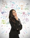 Creative business idea. Of a young businesswoman royalty free stock photo