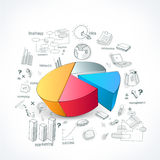 Creative business infographic pie chart with various elements. Stock Photography