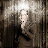 Creative business man with bright light bulb idea Royalty Free Stock Image