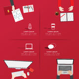 Creative business office workspace Infographic. Royalty Free Stock Photo